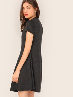 Mock Neck Solid Swing Dress
