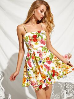 Floral Print Fit & Flare Slip Dress