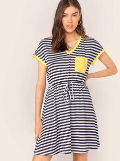Patch Pocket Drawstring Waist Striped Ringer Dress