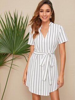 V Neck Curved Hem Striped Belted Dress