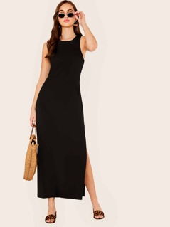 Solid Slant Pocket Split Side Tank Dress