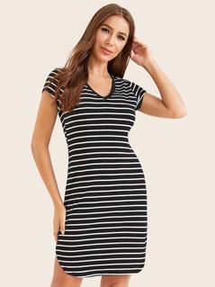 V-neck Dolphin Hem Striped Dress