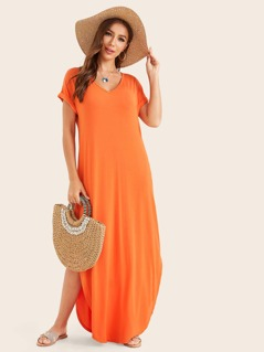 Neon Orange Rolled Sleeve Split Curved Hem Tee Dress