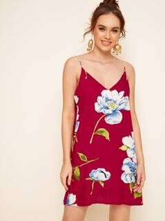 Double V Neck Floral Cami Dress