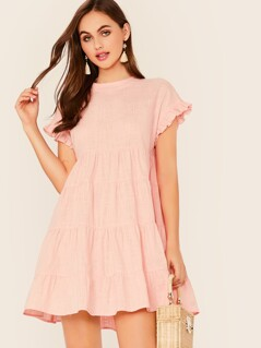 Ruffle Cuff Smock Dress