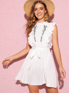 Ruffle Trim Embroidery Belted Dress