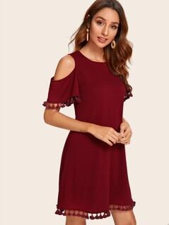 Cold Shoulder Tassel Trim Dress