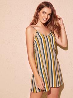 Zip Back Striped Cami Dress