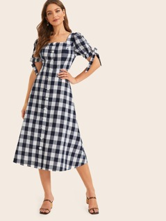 Knot Cuff Single Breasted Gingham Dress