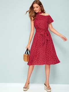 Asymmetrical Neck Ruffle Heart Print Belted Dress