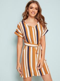 V-neck Colorful Striped Self Belted Dress