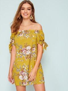 Floral Print Knot Cuff Bardot Dress