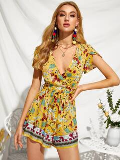 Floral Print Plunging Neck Self Belted Playsuit