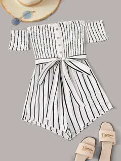 Striped Frill Trim Shirred Romper With Belt