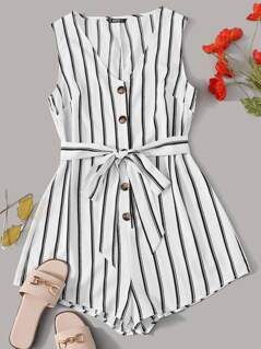 Buttoned Front Belted Striped Romper