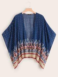 Plus Tribal Print Kimono