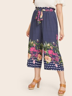 Plus Paperbag Waist Floral and Polka-dot Wide Leg Pants