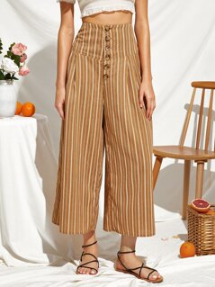Wideband Waist Button Front Shirred Back Striped Pants