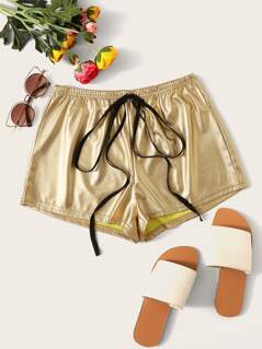 Tie Waist Metallic Shorts