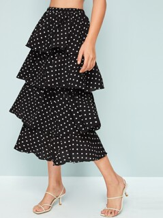 Elastic Waist Layered Ruffle Trim Dot Skirt