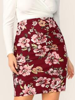 Plus Floral Print Bodycon Skirt