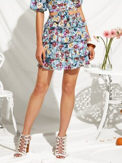 Shirred Paperbag Waist Layered Hem Floral Skirt