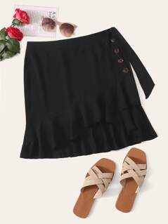 Tie Side Button Detail Ruffle Hem Skirt