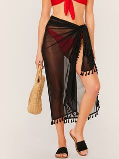 Tassel Trim Sheer Cover Up Skirt