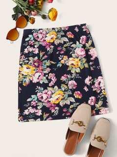 Elastic Waist Floral Print Skirt