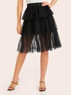 Tiered Layered Mesh Skirt