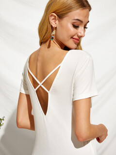 V-neck Patch Pocket Crisscross Back Top