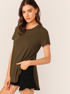 Split Side Rib-knit Top