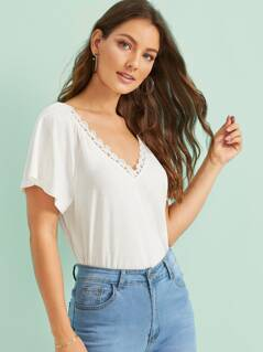 Lace Trim Slub-knit Solid Tee
