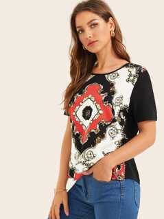 Short Sleeve Scarf Print Top