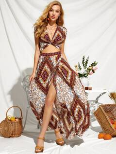 Scarf Print Twist Front Top and High Split Skirt Set