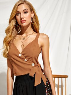 Buttoned Front Wrap Tie Side Tank Top