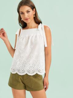 Tie Strap Shirred Front Embroidery Eyelet Top