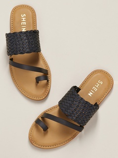Wide Woven Band Toe Loop Flat Slide Sandals