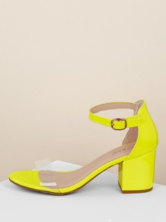 Clear Band Neon Low Heel Ankle Strap Sandals