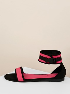 Buckled Ankle Strap Neon Open Toe Flat Sandals