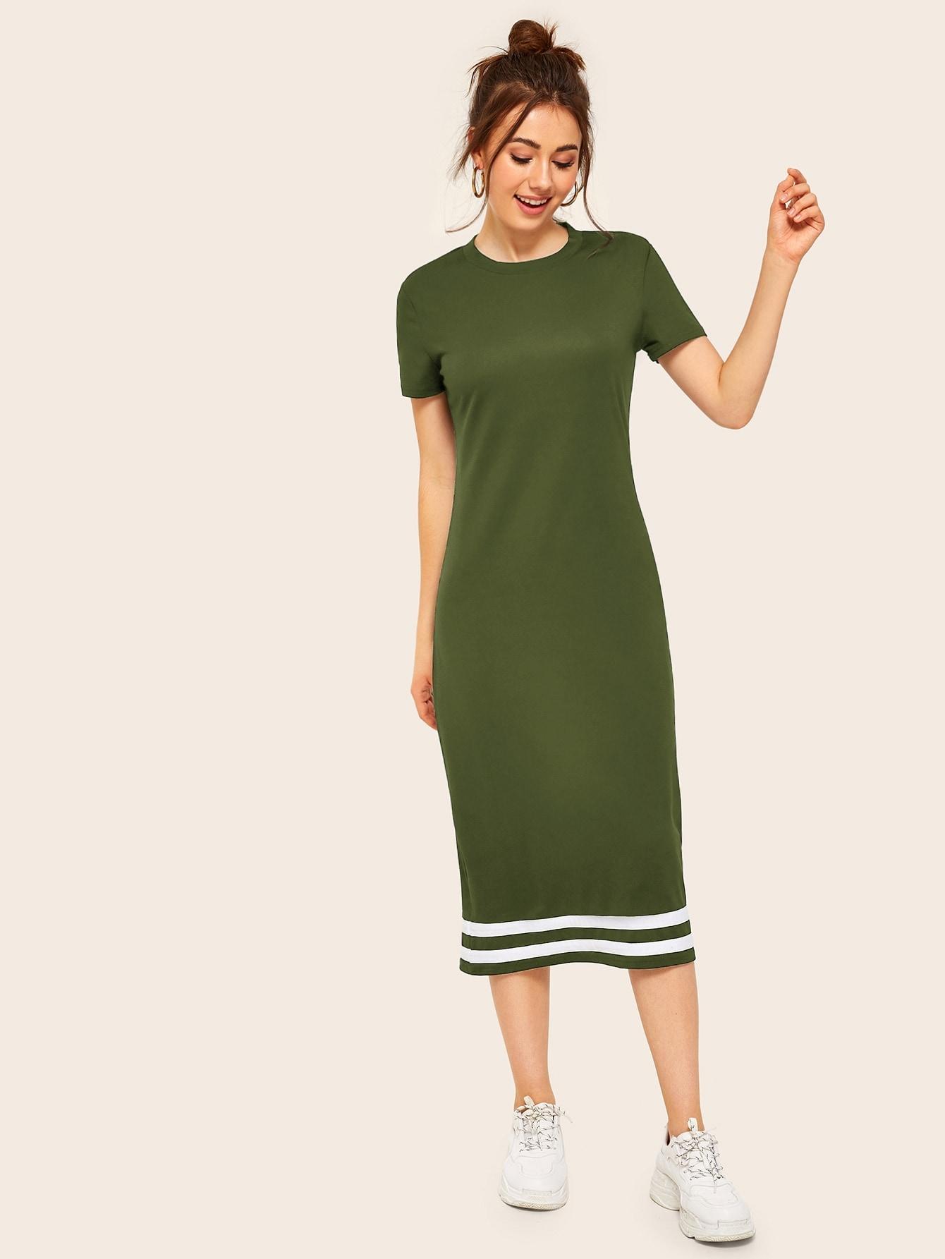 Фото - Полосатое платье от SheIn цвет цветахаки