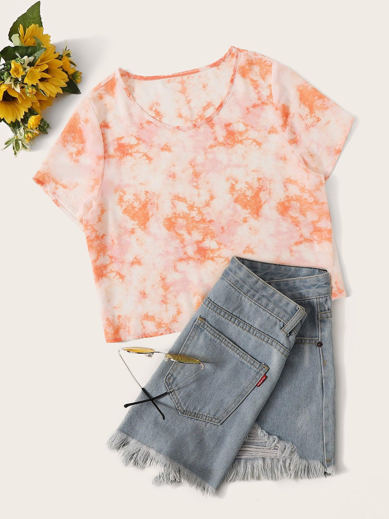 Фото - Разноцветный короткий топ от SheIn оранжевого цвета