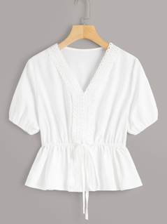 Solid Lace Trim Belted Peplum Top