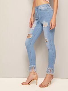 Fringe Hem Ripped Skinny Jeans