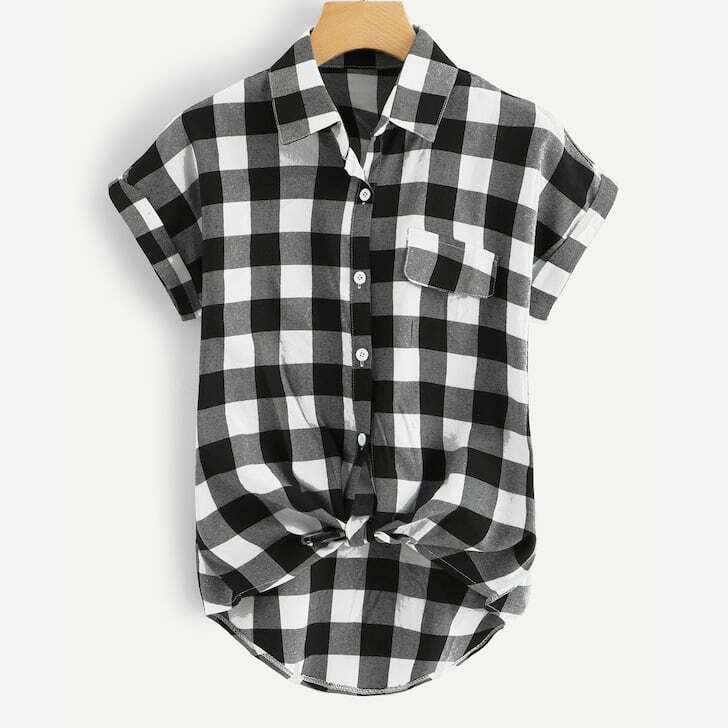 SHEIN / Hemd mit Knoten am Saum, gerollten Manschetten und Plaid Muster