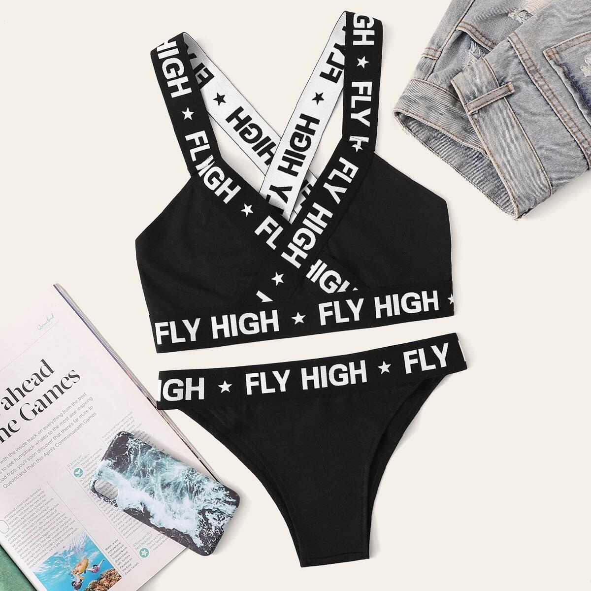 Комплект для белья Plus Hem Criss Cross с принтом в виде букв от SHEIN