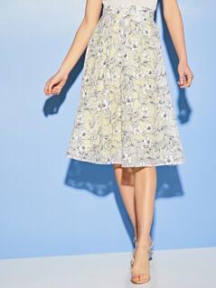 Wide Band Waist Floral Skirt