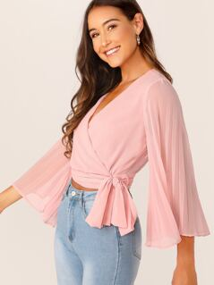 Pleated Sleeve Wrap Belted Crop Top