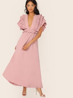 Plunging Neck Layered Pleat Exaggerated Ruffle Dress