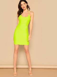 Neon Lime Crisscross Knot Backless Pencil Dress